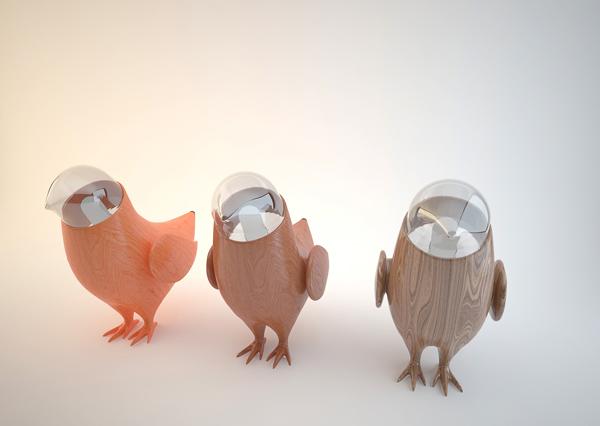lampara decorativa con forma de pájaro.
