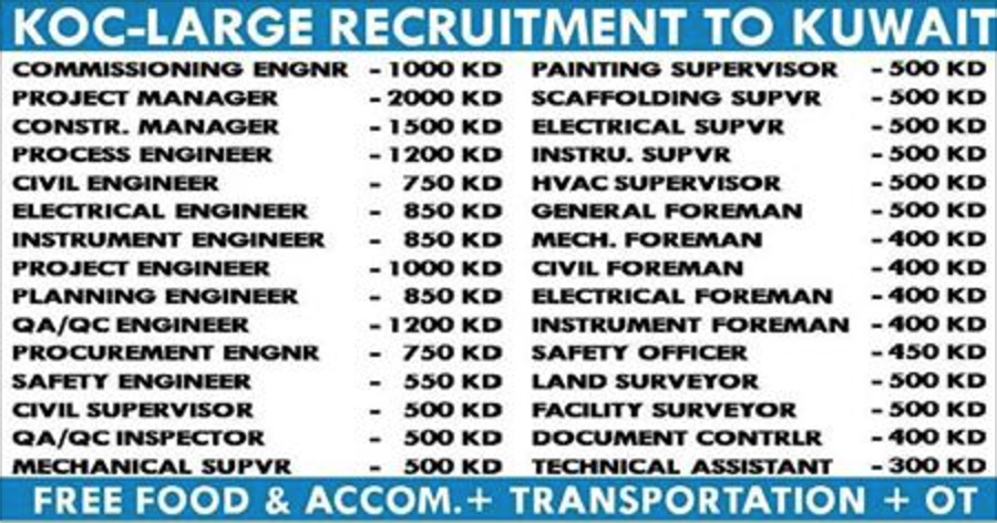 KOC KUWAIT URGENT RECRUITMENT 2017 | APPLY NOW | All Gulf