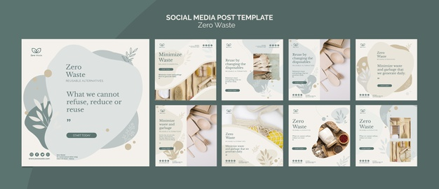 Zero waste products social media post template Free Psd