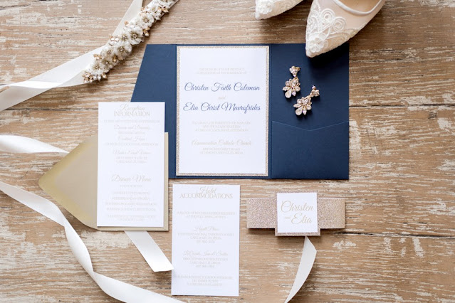 navy wedding stationary