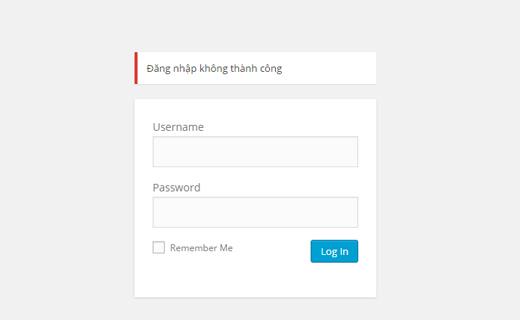 Thay đổi thông báo đăng nhập không thành công trong wordpress
