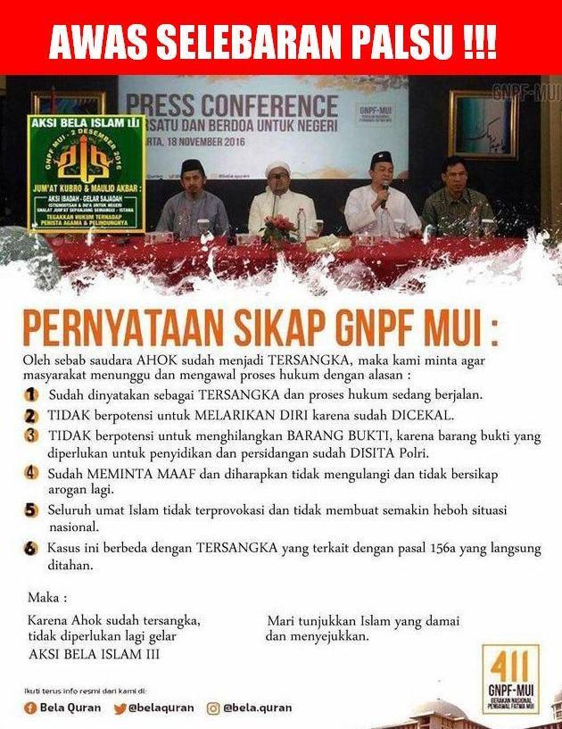 """Awas Penggembosan!!! Beredar Selebaran """"PALSU"""" Pernyataan GNPF-MUI Terkait Aksi Bela Islam III : Detikberita.co Terhangat Hari Ini"""