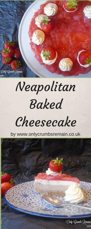Inspired by the classic Neapolitan Icecream, this baked Neapolitan cheesecake consists of a biscuit base, a layer of chocolate cheesecake which is topped with vanilla cheesecake.  The final layer is a set strawberry vegetarian jelly.