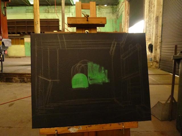 plein air oil painting of North Eveleigh by industrial heritage artist Jane Bennett