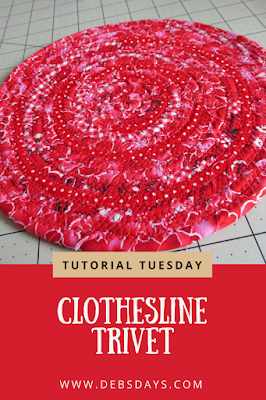 Homemade Coiled Clothesline Scrap Fabric Trivet Sewing Project