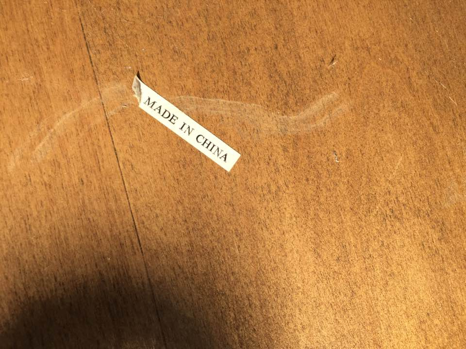 Made in China label underneath table.