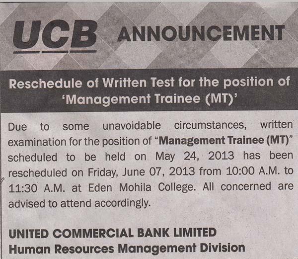 Jobs Barta: UCB: Reschedule Of Written Test For The