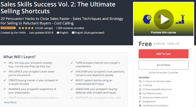 [100% Off] Sales Skills Success Vol. 2: The Ultimate Selling Shortcuts| Worth 199,99$
