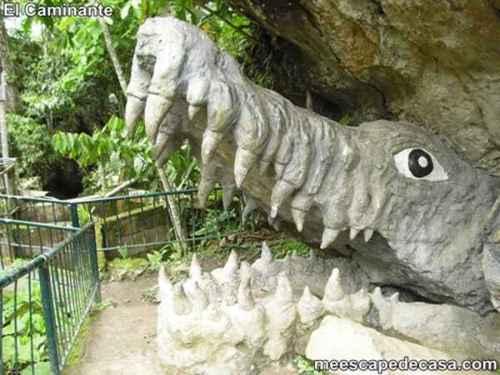 Caimán de piedra en el Centro Turístico Naciente del Río Tioyacu (Rioja, Perú) 1