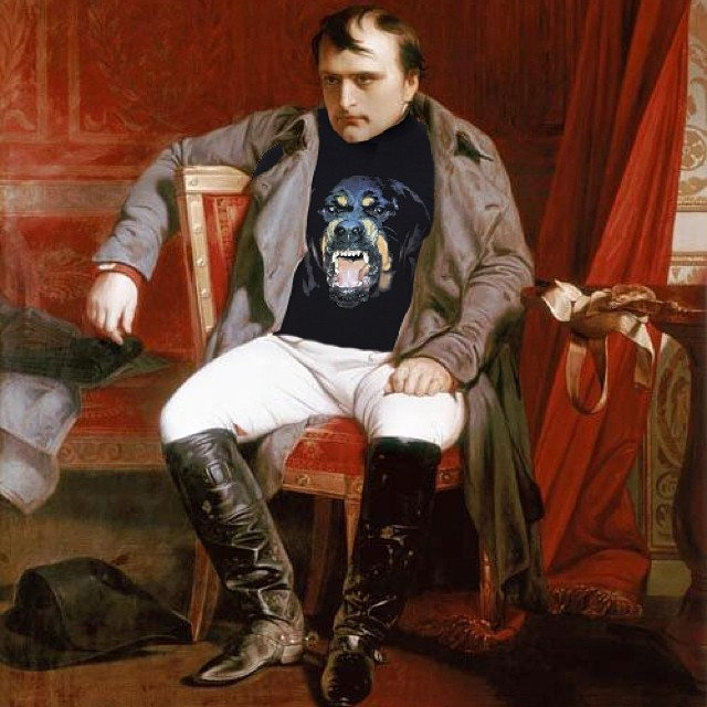 """Visibly Upset."" Original: Napoleon Emperor Defeated At Fontainebleau by Paul Hippolyte Delaroche. Added: Givenchy Rottweiler Shirt"