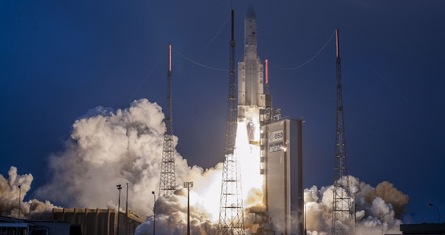 Ariane 5 ascends from the Spaceport in French Guiana on Arianespace's first flight of 2019. Credit: Arianespace