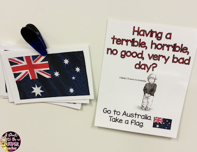 Need an easy classroom management idea for the elementary classroom? Use Australian Flags along with the book Alexander and the Terrible, Horrible, No Good, Very Bad Day as a classroom management strategy.  Would work great in 1st, 2nd, or 3rd grade.