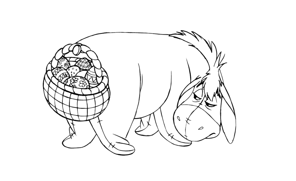 Winnie The Pooh - Easter Coloring Pages