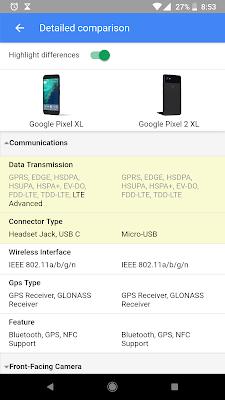 google search specs comparism between pixel 2 and pixel 2 xl