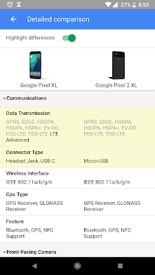 google search comparism between pixel 2 and pixel 2 xl