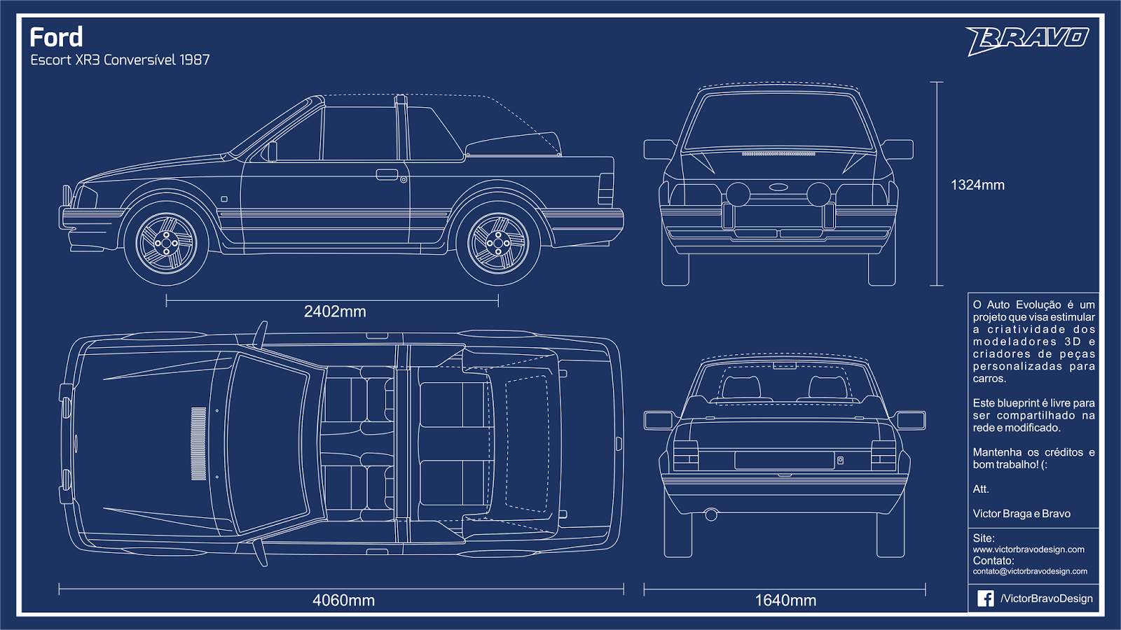 Imagem do blueprint do Ford Escort XR3 Conversível 1987