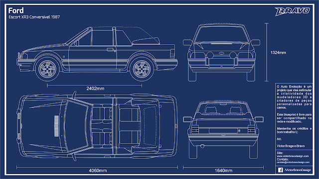 Imagem do blueprint do Ford Escort XR3 Conversível 1987
