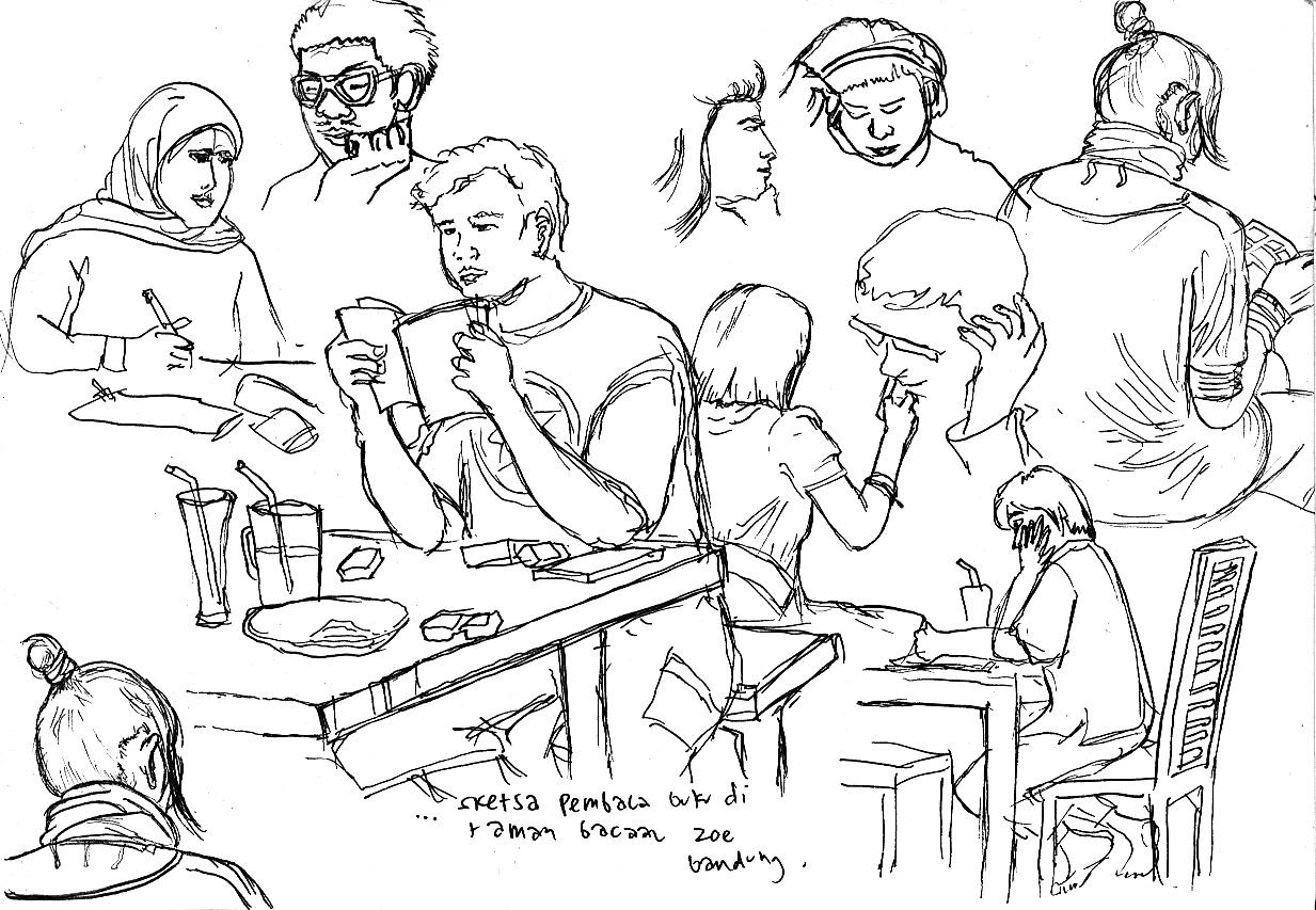 Gambar Sketsa Orang Membaca Buku