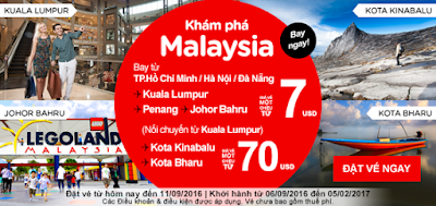 Đặt mua vé máy bay đi Malaysia của Air Asia
