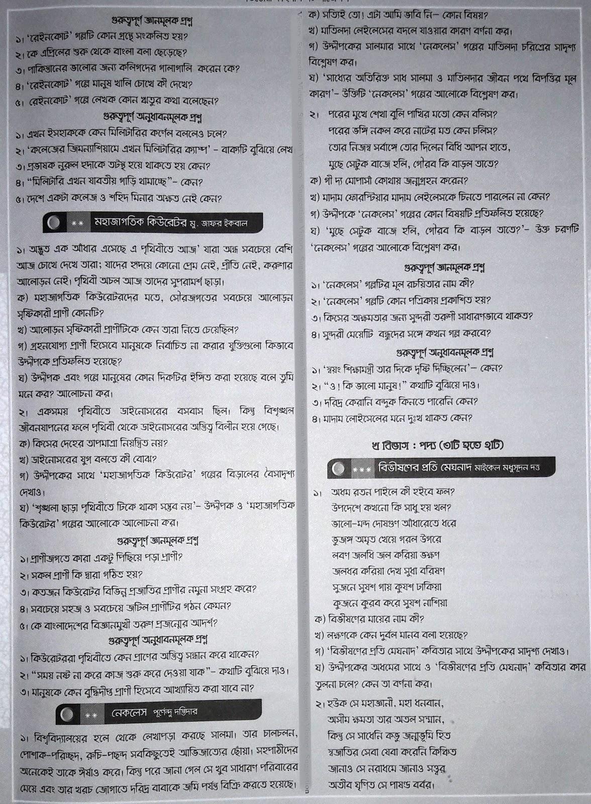 HSC Bangla 1st Paper Suggestion, question paper, question out