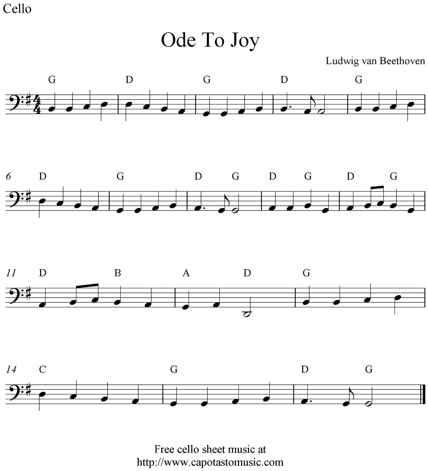 Ode To Joy Free Cello Sheet Music Notes