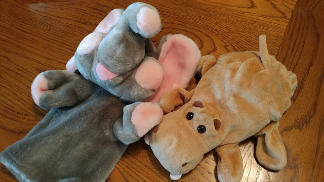 Elephant and hippo hand puppets