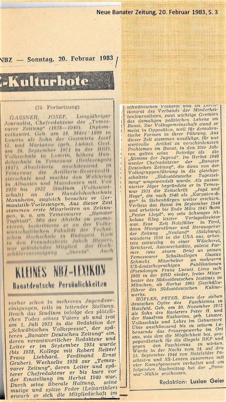 Kleines NBZ-Lexikon. Banatdeutsche Persönlichkeiten (Redaktion: Luzian Geier)
