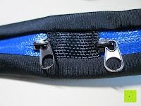 Reißverschluss: GHB Doppelfach Sportgürteltasche Bauchtasche Handygürtel ideal für Laufen, Training, Radfahren, Wandern Schwarz