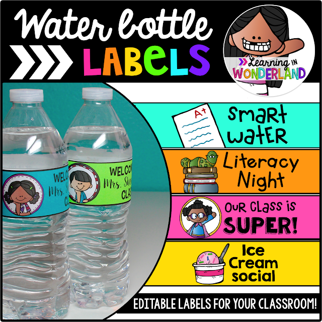 Editable water bottle labels for your classroom events!