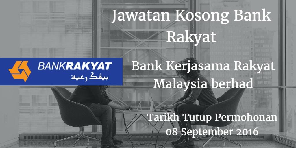 Jawatan Kosong Bank Rakyat 08 September 2016