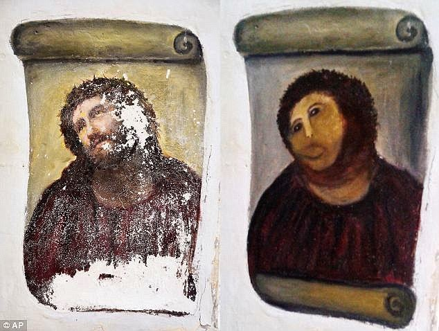 http://www.dailymail.co.uk/travel/travel_news/article-2875787/Tiny-Spanish-village-sees-tourism-boom-thanks-Beast-Jesus-painting-restored-pensioner-charges-euro-artwork.html