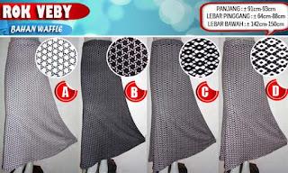 Jual murah online rok muslimah model payung motif cantik bahan waffle berkualitas