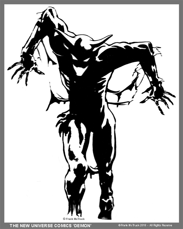 "A Frank McTruck graphic of the New Universe Comics mascot - ""The New Universe Demon"""