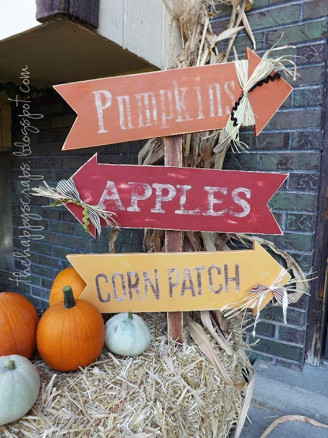 Pumpkins, Apples and Corn Patch wood arrow sign
