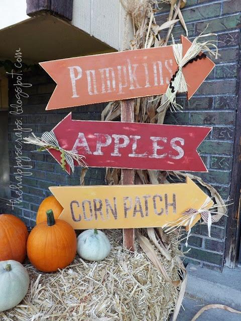 Pumpkins, Apples and Corn Patch wood arrow sign