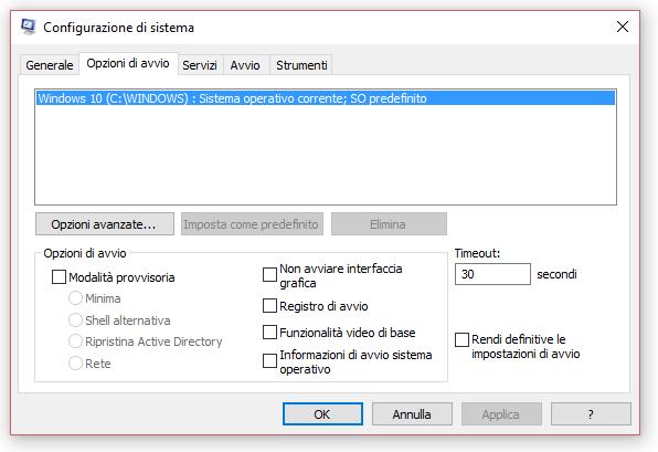 opzioni avvio windows 10