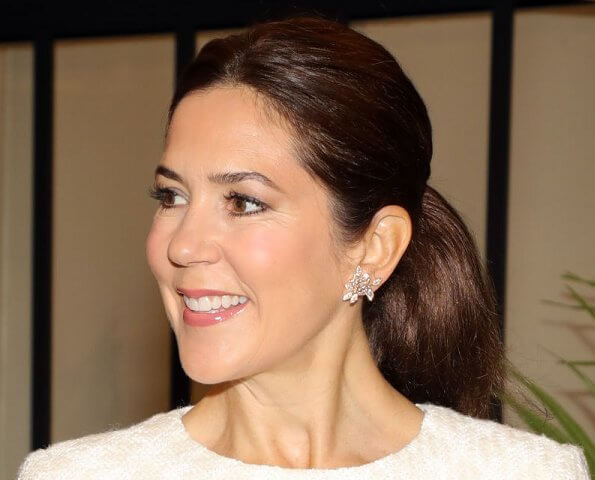 Crown Princess Mary wore a dress by Ole Yde Copenhagen, Gianvito Rossi pumps and carried Prada bag