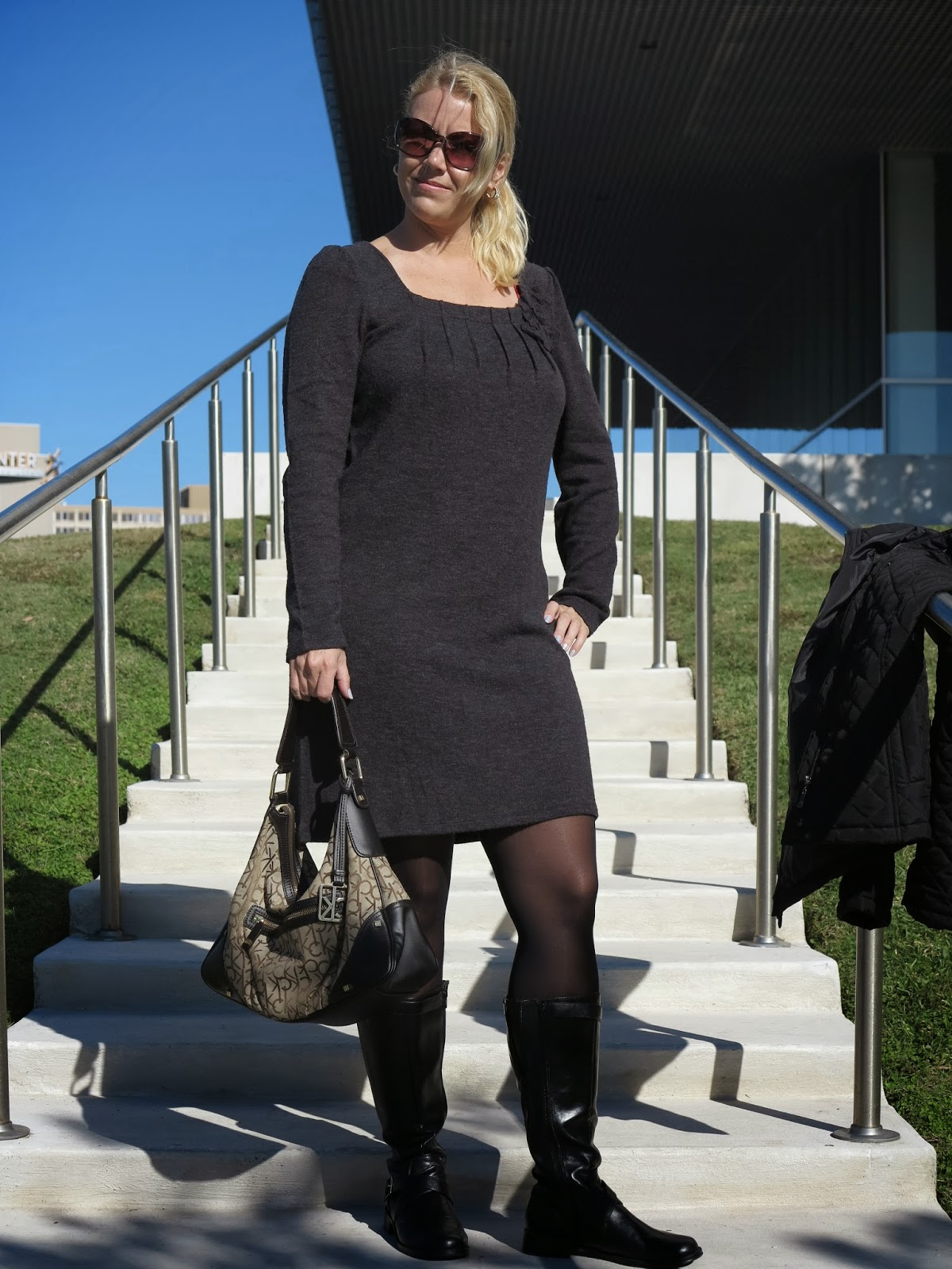 7534e95aed FASHION OVER 40  HOW TO WEAR A WOOL DRESS WITH TIGHTS AND BLACK BOOTS.