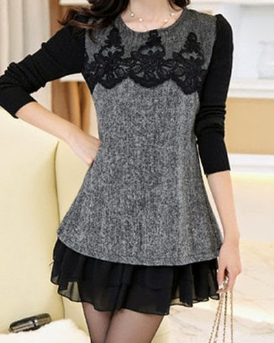jewel Neck Lace Chiffon Splicing Long Sleeve Dress