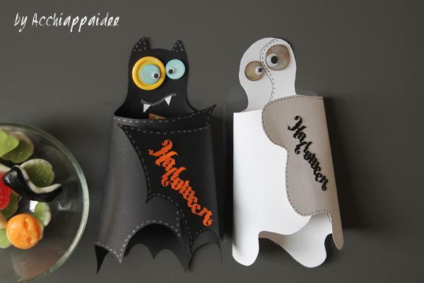portacaramelle di halloween pipistrello e fantasma