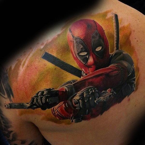 Deadpool Tattoo Outline: 70+ Marvel Deadpool Tattoo Designs For Men (2019)