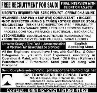 Sabic project jobs in Saudi Arabia