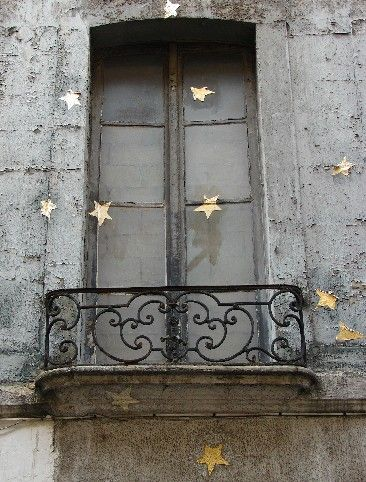 Paris balcony gold stars