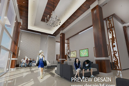 Jasa design lobby hotel minimalis nuansa siang