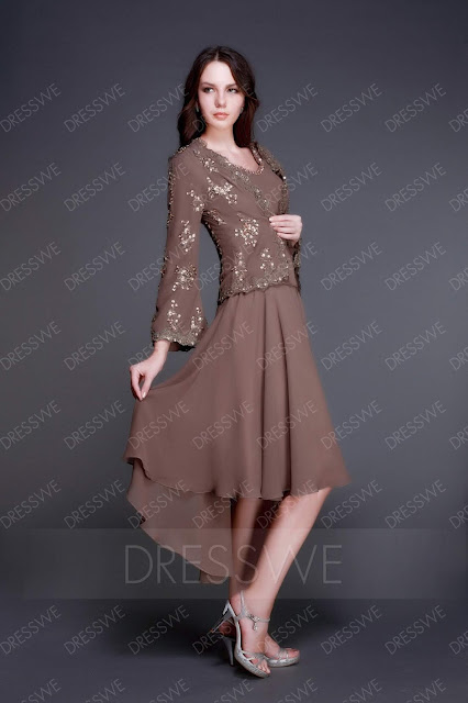 Elegant A-Line V-neck Asymmetry Luba's Mother of The Bride Dress With Jacket/Shawl