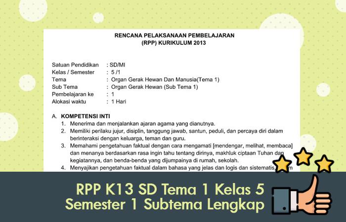 RPP K13 SD Tema 1 Kelas 5 Semester 1 Subtema Lengkap