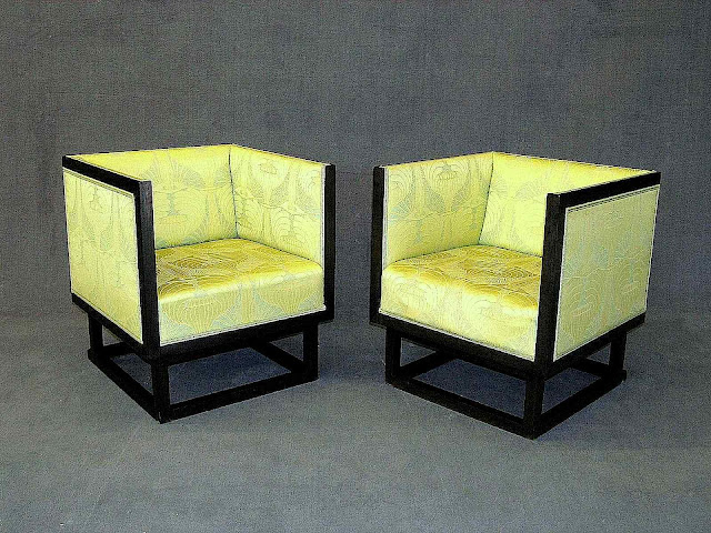 Joseph Hoffmann chairs with Koloman Moser fabric, a color photograph