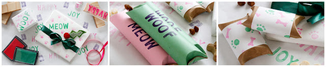 Dog and cat gift wrapping made from recycled cardboard tubes, wrapped and stamped with WOOF, MEOW, and paw prints