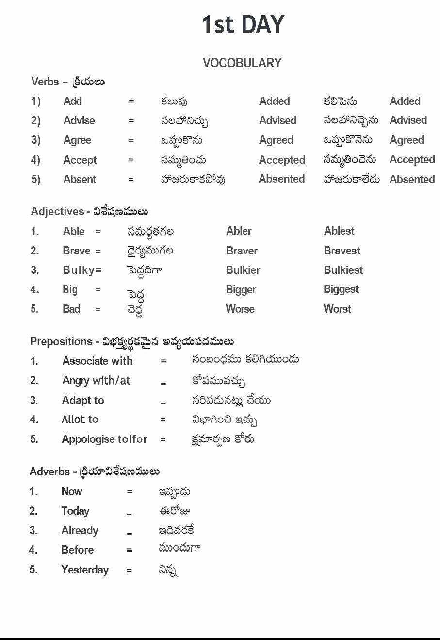 Vocabulary words pdf meaning with english telugu