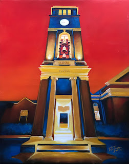 Red Sky at Night Peddle Bell Tower University of Mississippi Ole Miss - Tim Logan